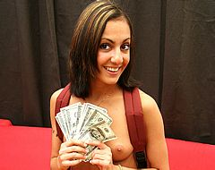 Petite college girl flashes cash after riding strange meat